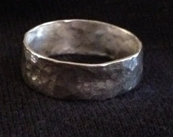 Rustic fine silver hammered ring