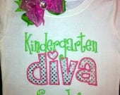PERSONALIZED KINDERGARTEN DIVA Shirt and Bow Set