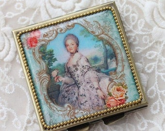 Mary Queen - Whimsical Retro Women - Fashion Vintage Women - Victorian Women - Pill Case - Pillbox- pil box-Compact Mirror-Trinket Box