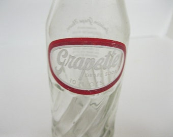 Grapette King Size Soda Cola Glass Bottle Vintage Collectible Filled with Great Memories of the Refreshing 50's & 60's Fun To Display or Use