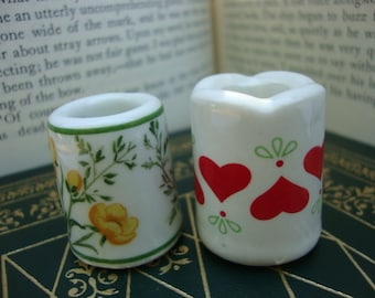 A Set of Two Ceramic Miniatures Timble Sewing Notions Miniature Folk Art Vase Hearts Flowers