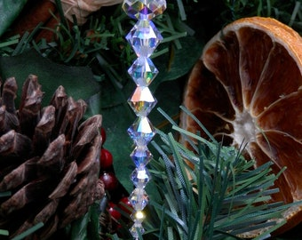Christmas Tree Icicle Decorations. Festive Ornaments with Swarovski Crystals and Satin Ribbon