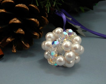 Christmas Tree Sparkly Ball Decorations. Festive Ornaments with Swarovski Pearls & Crystals