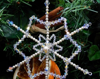Large Snowflake Decoration for Christmas Tree: Festive Ornaments with Swarovski Pearls & Crystals