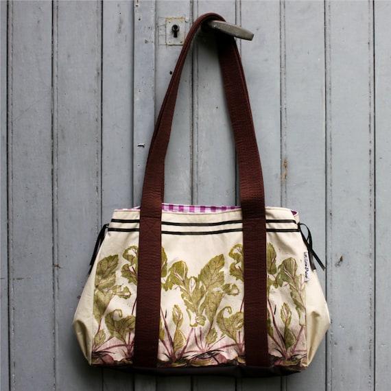 Beetroots Tote Bag, original lino print fabric