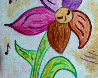 """ACEO Fantasy Nature """"The dancing flower""""  Mixed media Original by Gioia Albano"""