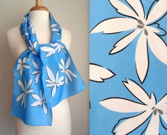 Blue & White Floral Scarf