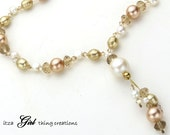 Champagne Cocktail Pearl and Swarovski Crystal Necklace with Free Shipping (Item 1511N)
