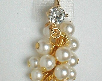 Unique Belly Ring - Grape Cluster Pearls