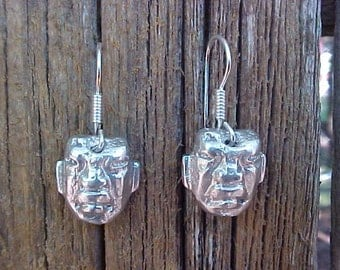 SHAMAN Pre-columbian Olmec burial FACE bead reproduction Earrings in Sterling Silver
