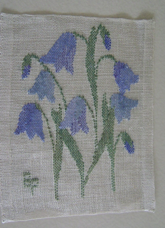 "Vintage  Swedish Wall Hanging Wool needle Work Floral  Design on woven flax  9x11"" Sq"