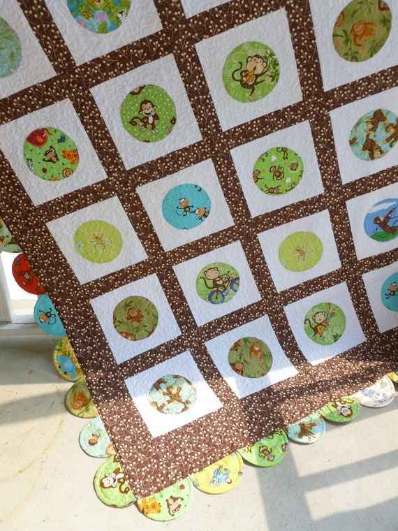 "Baby quilt entitled ""Playful Monkeys and Friends"""