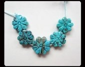 5 PCS Carved Turquoise Flower Pendant Bead,4.18g