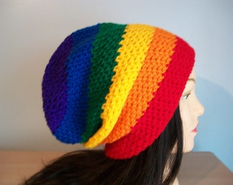 Rainbow Hat Slouchy Stocking Cap Crocheted