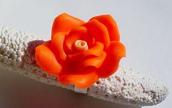 Halloween Orange Flower Ring / Polymer Clay Ring