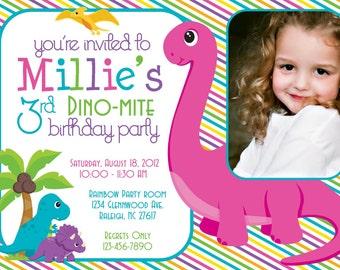 Dino-Mite Dinosaur Birthday Party 5x7 Photo Invitation- Girl Printable