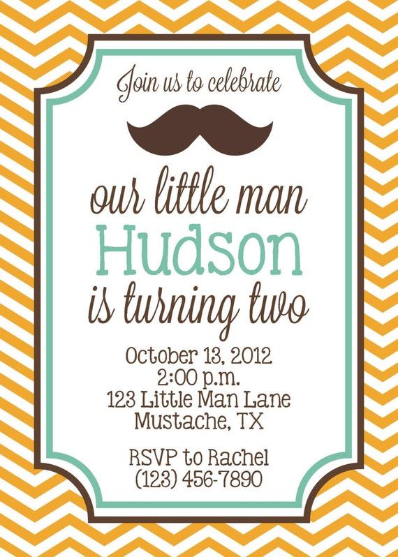 Little Man Mustache Bash Invitation Birthday Party Boy DIY – Little Man Mustache Party Invitations