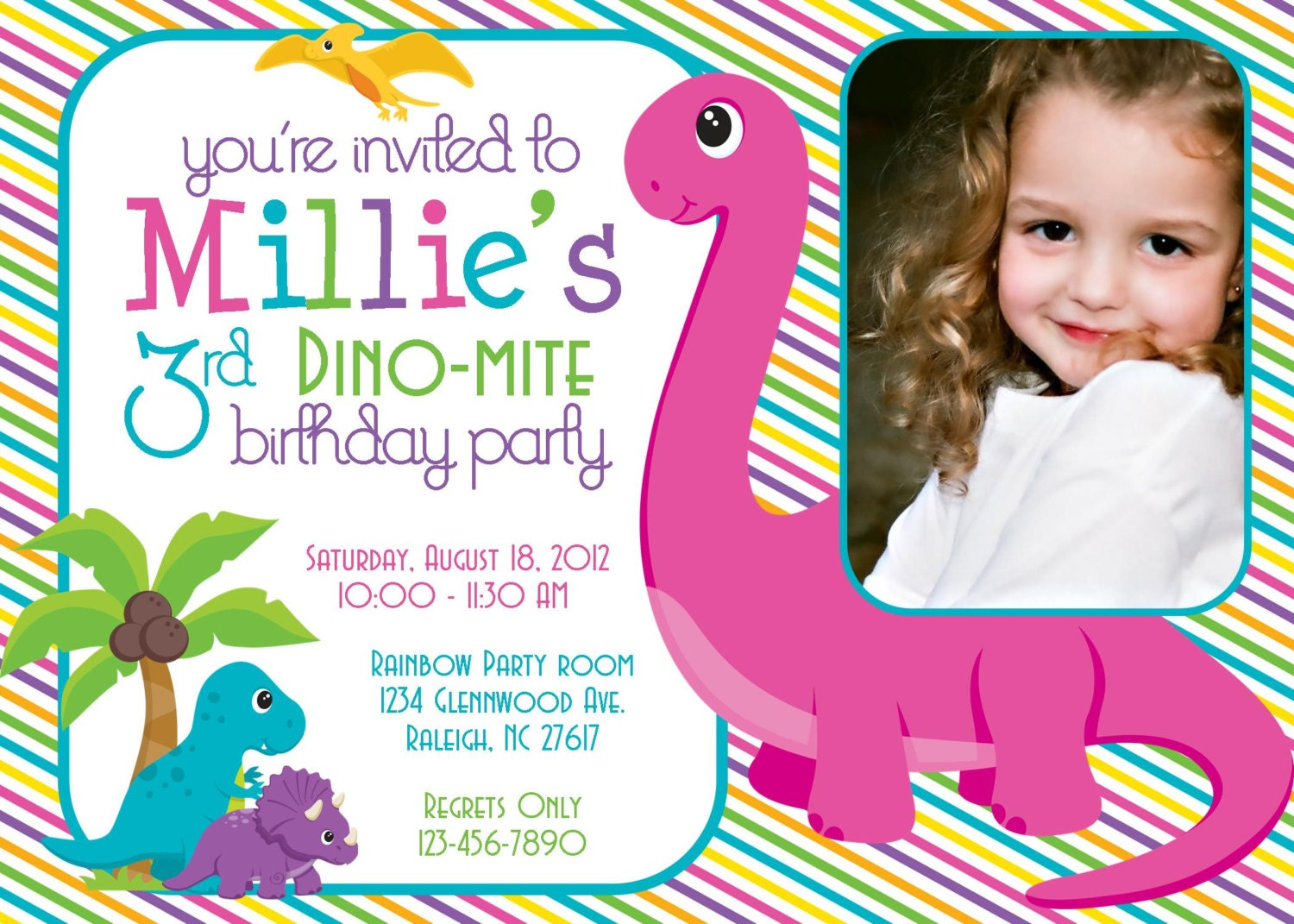 DinoMite Dinosaur Birthday Party 5x7 Photo Invitation Girl