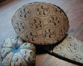 Silk Handmade Pincushion, Pouch, Scissor Case and Scissors Antique
