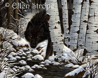 PRINT, Giclee print, 9 X 12, Black Wolf, Wolves, wolf decor, wildlife decor, wolf decor, castteam, Ellen Strope, snow, aspen trees