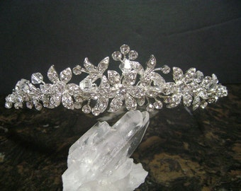 Swarovski Crystal and Rhinestone Bridal Tiara, Rhinestone and Crystal Wedding Headpiece, Rhinestone Bridal Headpiece, Bridal Hair Accessory