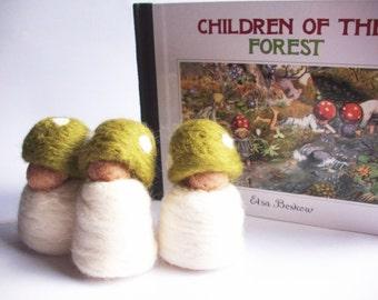 Three Tiny Toadstool Babies - green hats (waldorf inspired)