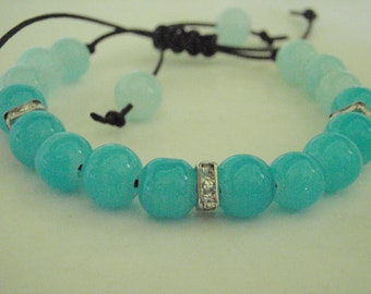 Blue glass and crystal bead bracelet