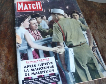 Paris Match 1954, French Vintage Magazine, mid century poster, vintage advertisements, celebrity gossip, french learning tool, france retro
