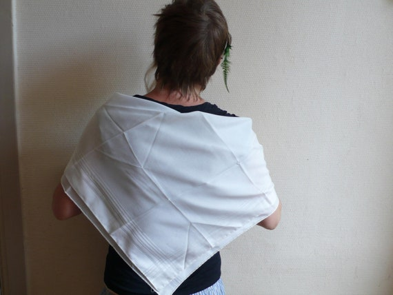 Vintage fashion, white scarf, unisex, accesory, european,  French vintage accessories by ancienesthetique on Etsy