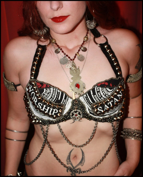 The Inferno Satanic Heavily Studded Tribal Fusion Belly Dance Bra