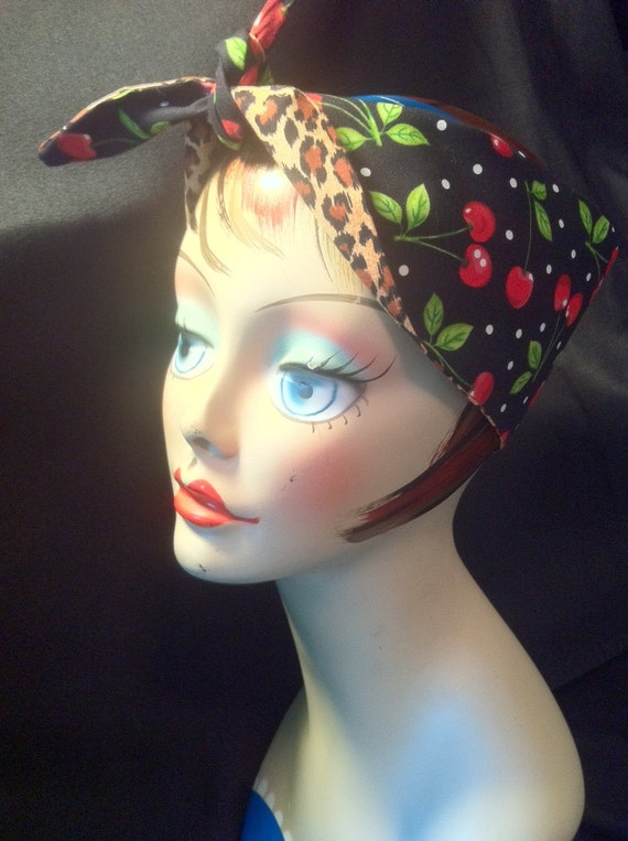 Reversible Rockabilly PinUp Cherry and Leopard Print Bandana Head Scarf