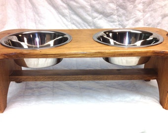 Dog Bowl Holder with Bowls, Wood, Bone-shaped, Choice of Color and Size