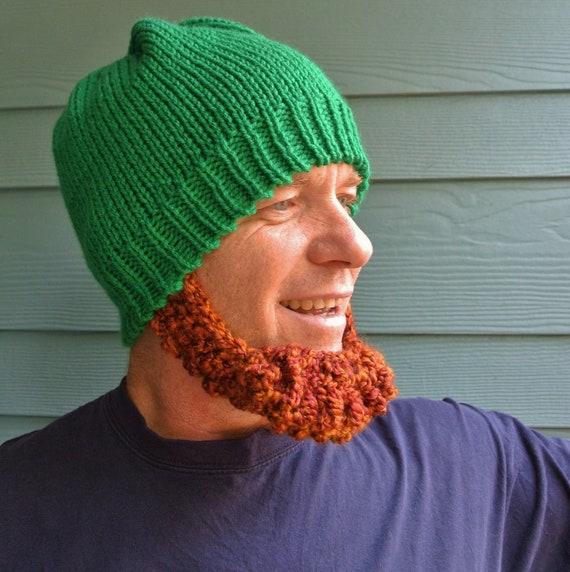 IRISH Beard Beanie Hat - Made to Order - Irish Red Chin Beard- St Patrick's Day