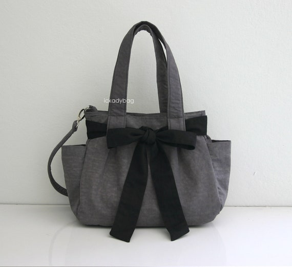 SALE 10% Gray Bag in Water-resistant Gray with Black Sash - 3 Compartments - Diaper Tote Bag / Cross body