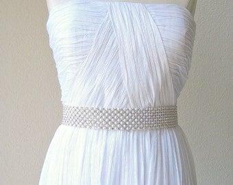 Elegant bridal beaded pearl, crystal wedding sash/belt. 8 rows. Cream & Sparkle.