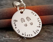 Deployment gift - Hand Stamped Key chain - Personalized keychain - Home is where his boots are... ( Military )