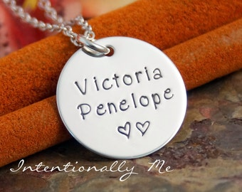 Hand Stamped Necklace - Personalized Mommy Jewelry - Sterling Silver Jewelry - Tag with 2 names (kids)