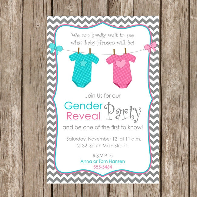 Gender reveal invitation baby reveal invite by modernbeautiful