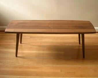 Modern coffee table in solid black walnut