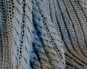 Mock Pleats & Cable Lace 'Myrna Loy' Two Afghans in One Knit Afghan Pattern