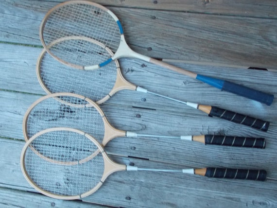 Vintage 4 Piece Wooden Badminton Racket Set -  Winners Choice Model