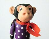 Monkey Brooch Pin in a Purple Polka Dot Dress, handmade