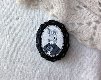 rabbit brooch -  victorian/edwardian style jewelry - bunny portrait - small 18x25mm - black resin