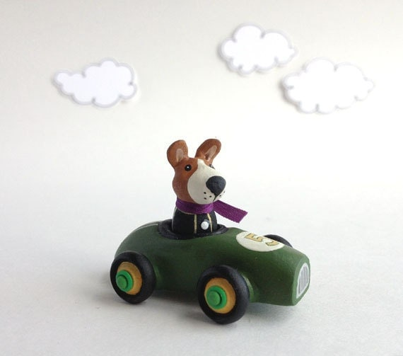 Miniature Race Car with Brown Dog, Toy Car, Handmade, One-Of-A-Kind and Fully Functional, Removable Driver