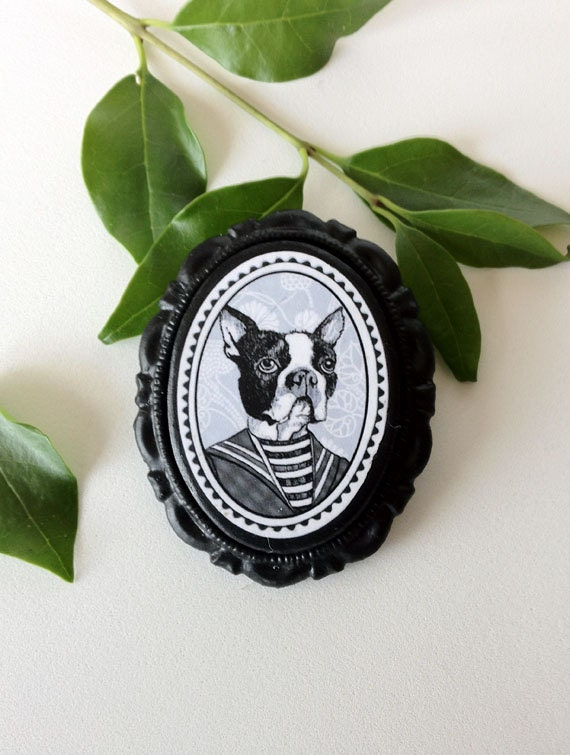 boston terrier victorian style brooch - 30x40mm - black resin cameo -  edwardian - black and white portrait