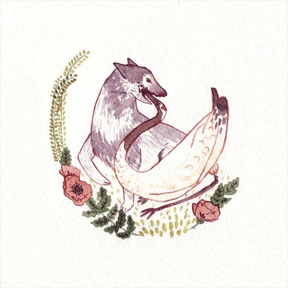 Aesop's Fables 'The Wolf and the Crane' Watercolour Gouache Painting Illustration Giclee Art Print