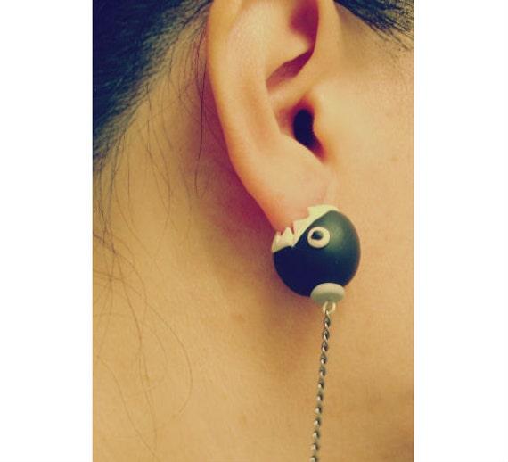 items similar to chain chomp earrings mario ear stud
