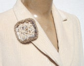 Fiber art crocheted brooch beige yarn appliqued new fall autumn fashion