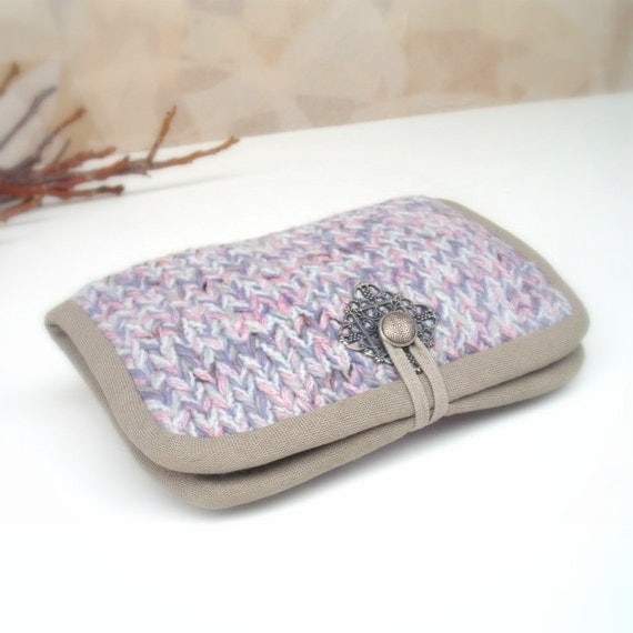RESERVED: Knitted unique wallet in grey lilac wool yarn with metal ornament