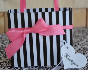 Pink and black party favor gift bags